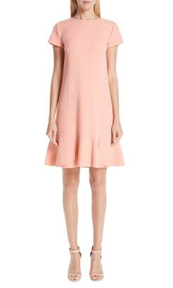 Oscar de la Renta Ruffle Hem Stretch Wool Shift Dress