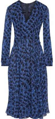 Derek Lam Pleated Snake-Print Silk-Gauze Dress
