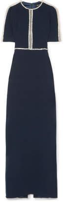 Jenny Packham Cari Embellished Tulle-paneled Crepe Gown - Black
