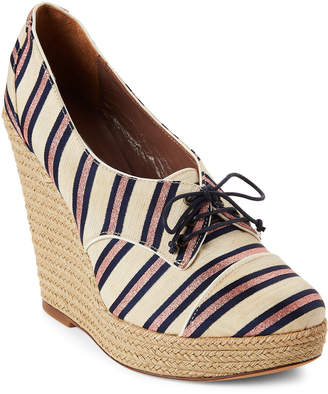 Tabitha Simmons Oxford Striped Wedge Espadrilles