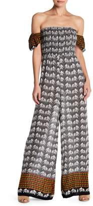 Raga Melody Off-the-Shoulder Print Jumpsuit