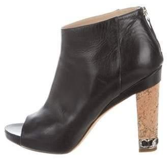 Chanel Peep-Toe Leather Booties Navy Peep-Toe Leather Booties