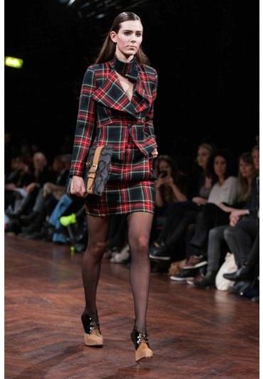 Vivienne Westwood Asymmetric Wool Tartan Jacket