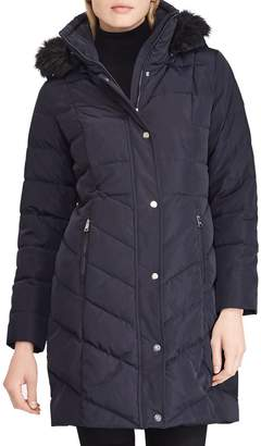 Lauren Ralph Lauren Faux Fur Trim Down Jacket
