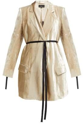 Ann Demeulemeester Waist Tie Longline Crushed Velvet Blazer - Womens - Beige