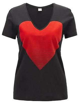 HUGO BOSS Slim-fit V-neck T-shirt with flock-print heart