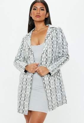 Missguided White Snakeprint Trench, Grey