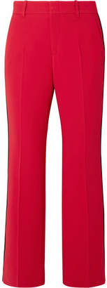 Gucci Grosgrain-trimmed Cady Bootcut Pants - Red