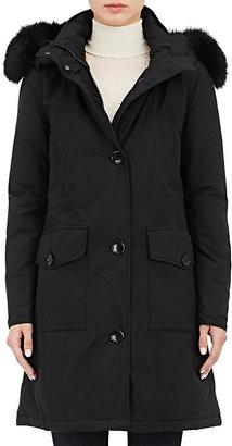 Woolrich John Rich & Bros. Women's Fox-Fur-Trimmed Down Parka-DARK GREY $895 thestylecure.com