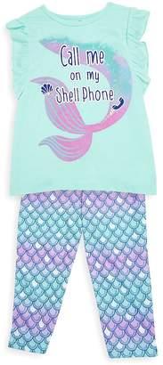 Petit Lem Little Girl's & Girl's Two-Piece Shell Phone Pajama Set