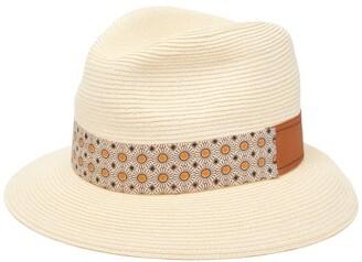 f28b7e744ab96 Albertus Swanepoel Donn Sun Straw Sunflower Print Panama Hat - Mens - Beige