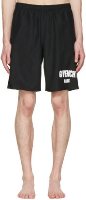 Givenchy Black Logo Swim Shorts $685 thestylecure.com