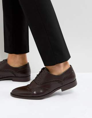 Asos Brogue Shoes In Brown Faux Leather With Layered Paneling