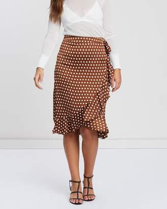 Missguided Frill Polka Dot Print Midi Skirt
