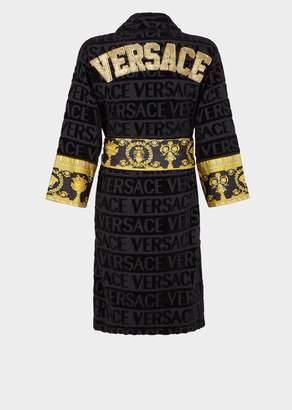 Versace Embroidered Logo Baroque Bathrobe