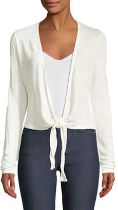 Theory Long-Sleeve Linen Wrap Cardigan