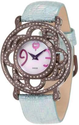 Brillier Women's 04-71727-11 Papillon Swiss-Quartz Mother-Of-Pearl Watch