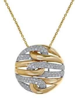 Effy 14K White Yellow Gold 0.45TCW Diamond Pendant Necklace