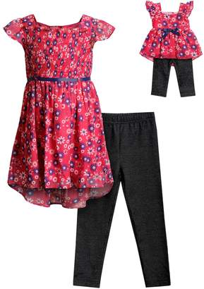 Dollie & Me Girls 4-14 Floral Dress & Leggings Set with Matching Doll Outfit