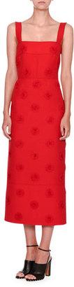 Valentino Daisy-Embellished Sleeveless Midi Dress, Red $5,490 thestylecure.com