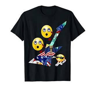 Singing Smiley Face Emoticons Music Note Guitar Shirt T-Shirt