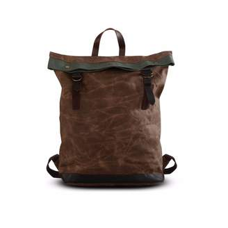 EAZO - Waxed Canvas Folded Top Backpack Brown