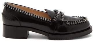 No.21 No. 21 - Crystal Embellished Leather Loafers - Womens - Black
