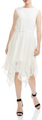 Maje Rushane Lace-Trimmed Handkerchief-Hem Midi Dress