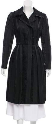 Oscar de la Renta Embroidered Pleat-Trimmed Coat