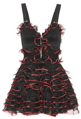 Alexander McQueen Piped ruffle zip dress