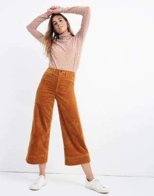 Petite Emmett Wide-Leg Crop Pants in Corduroy