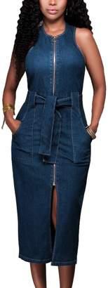 Sevozimda Women Elegant Scoop Neck Solid Racer Back Zip Up OL Denim Slim Summer Maxi Dress L