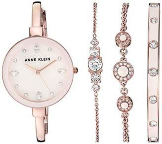 Anne Klein Women's AK/3352PKST Swarovski Crystal Accented Rose Gold-Tone Bangle Watch and Bracelet Set