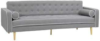 Armen Living Kennedy Mid-Century Tufted Fabric Sofa With Walnut Legs