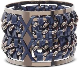 Pluma Gunmetal Brass and Navy Blue Leather Large Bangle in Fumoso