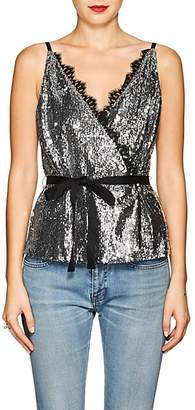 Robert Rodriguez Women's Lace-Trimmed Sequined Wrap-Front Cami - Silver