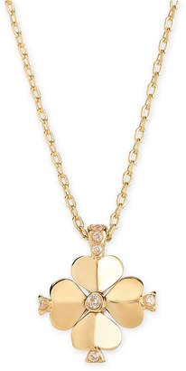 "Kate Spade Gold-Tone Crystal Flower 19"" Pendant Necklace"