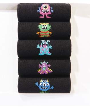 Next Mens Black Monster Embroidered Socks Five Pack