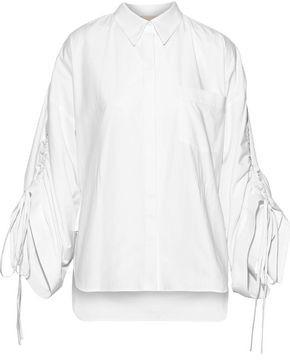 Antonio Berardi Ruched Cotton-poplin Shirt