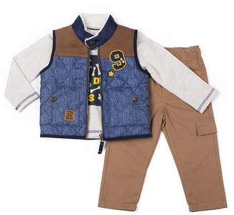 Little Lass 3-pc.Quilted Vest Pant Set -Baby Boys