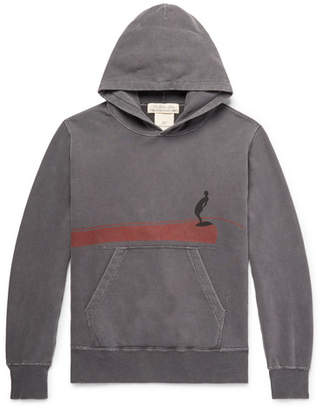 Remi Relief Distressed Printed Loopback Cotton-Jersey Hoodie