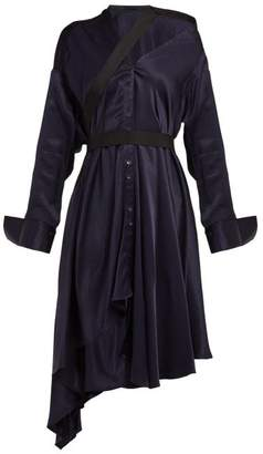 Palmer Harding Palmer//Harding Palmer//harding - Heathers Off The Shoulder Asymmetric Twill Dress - Womens - Navy Multi