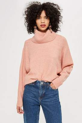 Topshop Super Soft Plait Roll Neck Jumper