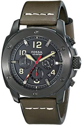 Fossil Men's FS5000 Modern Machine Chronograph Leather Watch - Olive