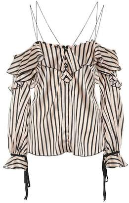 Self-Portrait One-shoulder striped top
