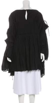 Junya Watanabe Comme des Garçons Ruffle-Accented Frayed Poncho Black Comme des Garçons Ruffle-Accented Frayed Poncho