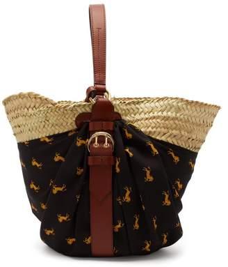 Chloé Panier Medium Raffia Basket Bag - Womens - Black Multi