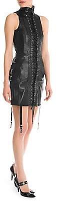Moschino Women's Lace-Up Leather Mini Dress