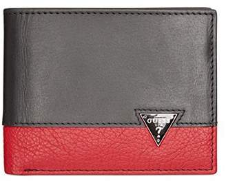 GUESS Mens Ricardo Leather Organizational Bifold Wallet Black O/S