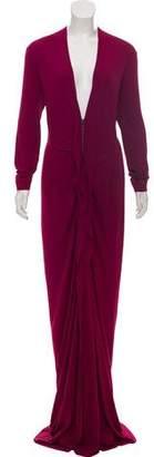 Roland Mouret Plunging Long Sleeve Maxi Dress